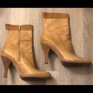 Nine West Pindari Leather Camel Boots Size 9.5